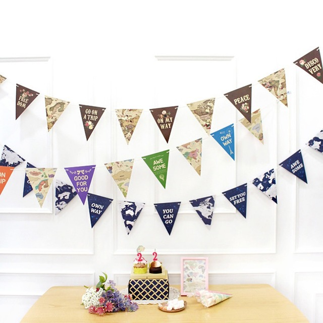 Worldmap Flags And Banners 2 3m Garlands Part Decorations Paper Flag Banner Bunting Wedding Birthday Party