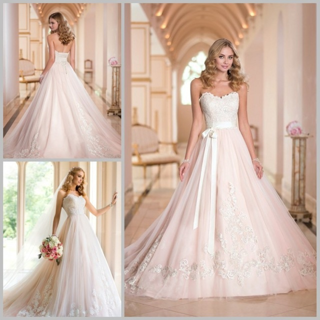 elegant simple Wedding Dress 2016 sweetheart beaded white appliques ...