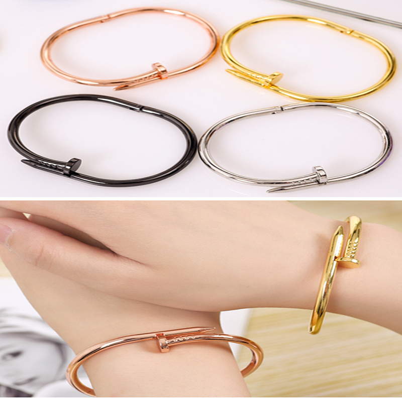 Screw Women Screw Nail Titanium Stainless Steel Bracelets&Bangles Female Silver Color Black Cuff Bracelet Love Bangle Pulseras