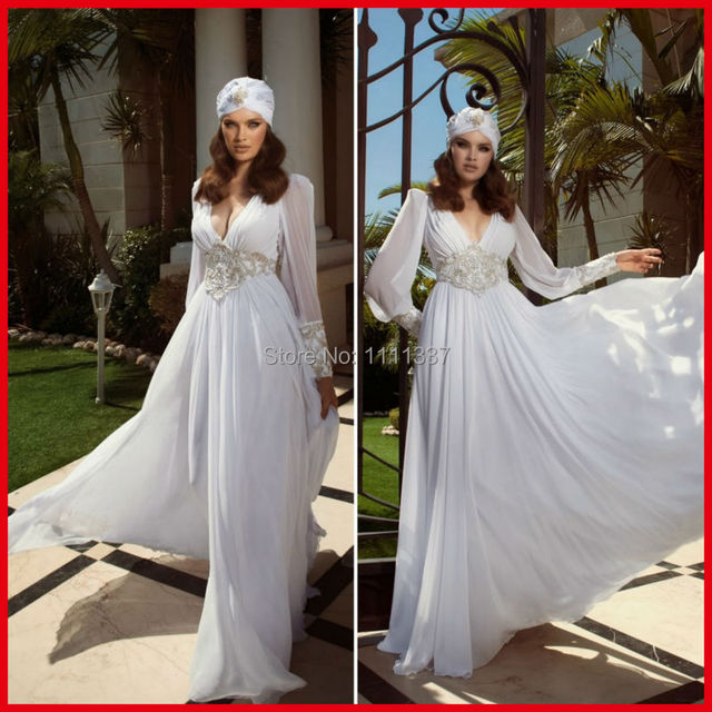 Greek Style V Neck Beaded A Line Chiffon Wedding Gown Long Sleeve Vintage