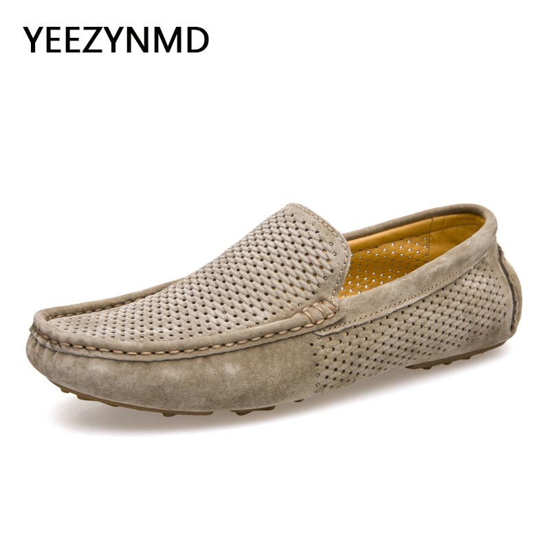 Men Loafers 2017 Casual Boat Shoes Fashion Genuine Leather Slip On Driving Shoes Moccasins Hollow Out Men Flats breathable shoes men s crocodile emboss leather penny loafers slip on boat shoes breathable driving shoes business casual velet loafers shoes men