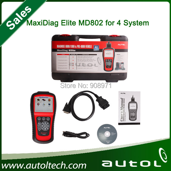 2015 Originele Autel Maxidiag Elite Md802 4 Systeem Ds Model (MD701 MD702 MD703 MD704) Pro MD 802 Auto Code Reader