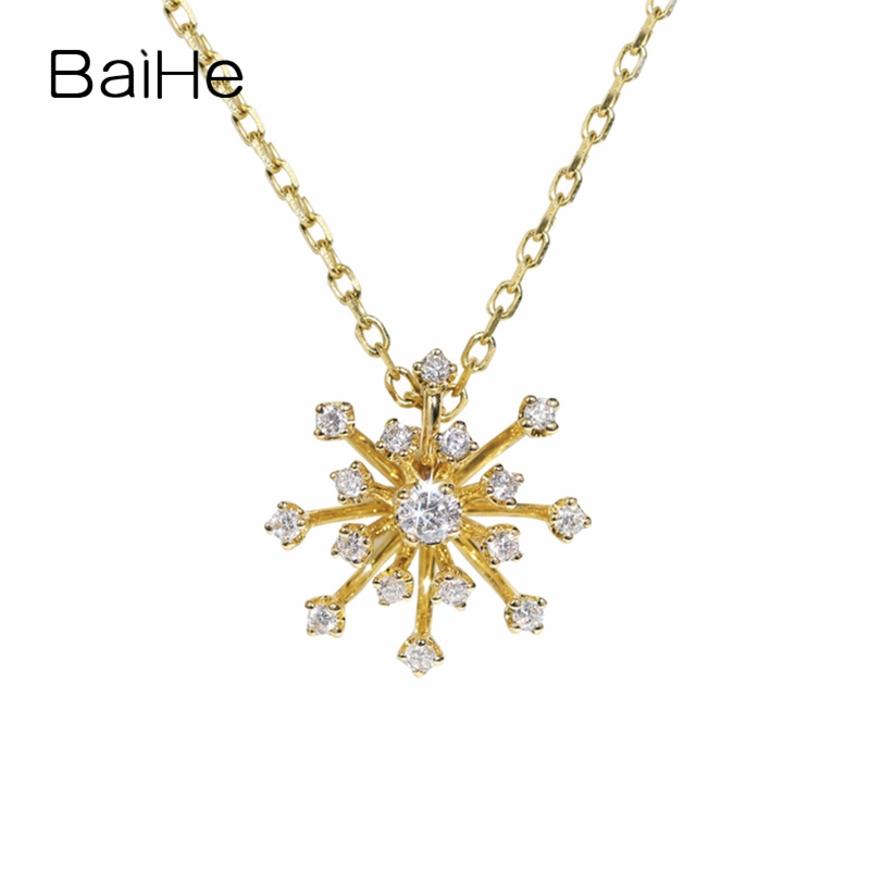 BAIHE Solid 18K Yellow Gold 0.11ct Certified F-G/SI 100% Genuine Natural Diamonds Women Engagement Fine Jewelry Gift Necklaces baihe solid 18k yellow gold au750 engagement