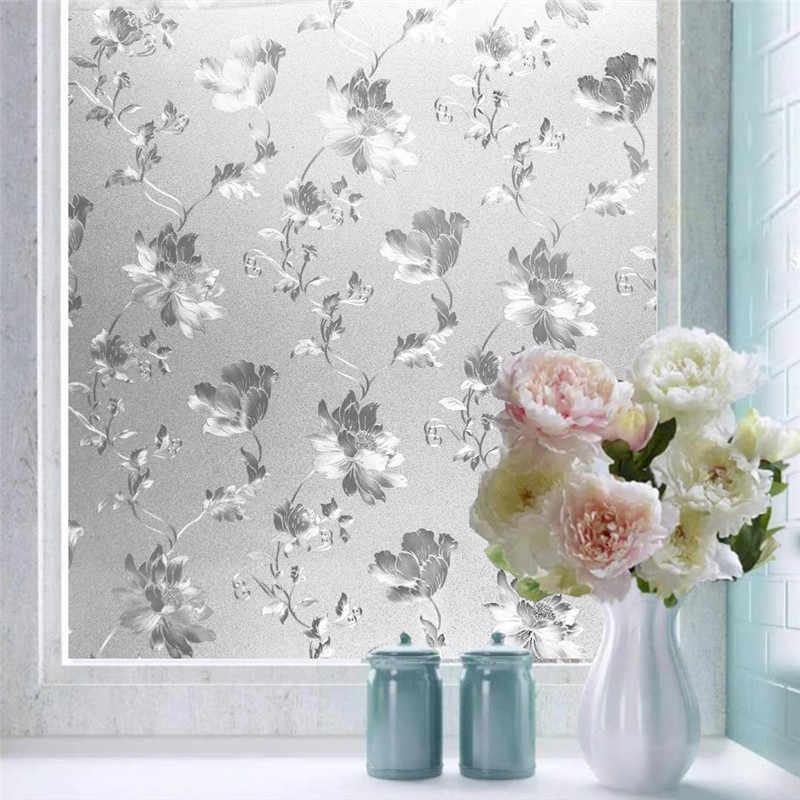 Ванная комната Непрозрачный водонепроницаемый цветок оконная пленка домашний декор балкон Наклейка на стекло стену