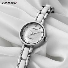 New Brand SINOBI Women's Watch Imitated Ceramic Ladies Luxury Bracelet Watches with Fine Steel Strap