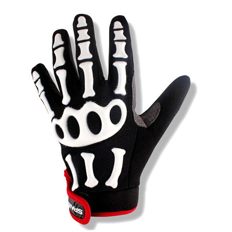 New Cycling Gloves Brand Silicone GEL Full Finger Gloves Skull Bike Bicycle Men Anti Slip Sweat for MTB Riding Green White Black (3)