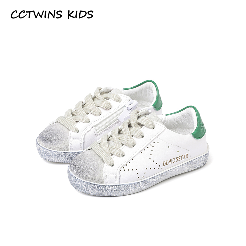 CCTWINS KIDS 2018 Spring Toddler Boy Star Lace Up Fashion Sneaker Child Pu Leather Casual Shoe Baby Girl White Trainer F5566