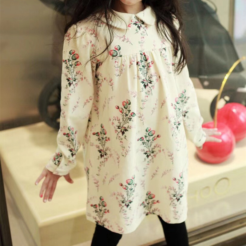 Autumn Floral Pattern Baby Girls Dress White Flower Full Print Party Boutique Beige White Dress For Girls Cherry Clothes
