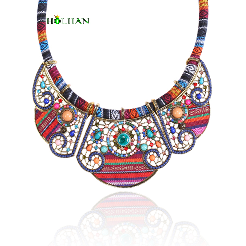 2017 New women bohemia necklace pendants multicolor statement choker necklace za antique tribal ethnic boho jewelry