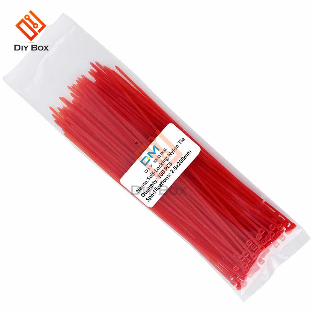 100 個 200 ミリメートル自己ロックケーブルタイ再利用可能な 12 色プラスチックナイロン kabelbinder ジップタイタグワイヤラップストラップ