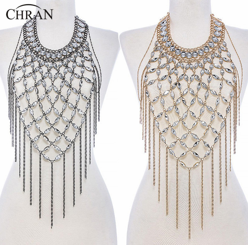 Chran Fashion Women Gold And Silver Plated Beach Chain Harness Slave Halter Shoulder Necklace Boho Dancer Jewelry Armor BDC462