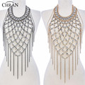 Chran Fashion Women Gold And Silver Plated Body Chain Harness Slave Halter Shoulder Necklace Boho Dancer Jewelry Armor BDC462