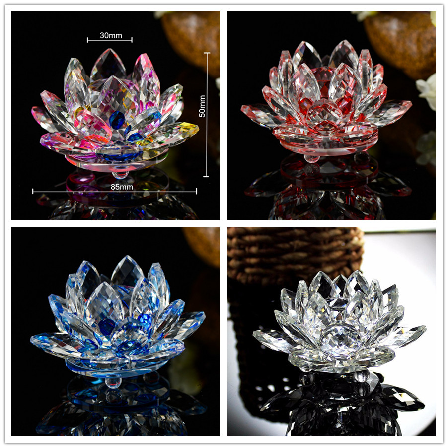 8 colors can be chosen 85mm crystal lotus flower figurines miniatures luxury glass ornaments home decoration accessories