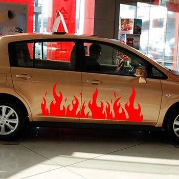 пламя наклейки для автомобилей | 2x двигателя автомобиля Горячие пламя двери надписи тела наклейки грузовик внедорожники виниловые наклейки 150*53 см