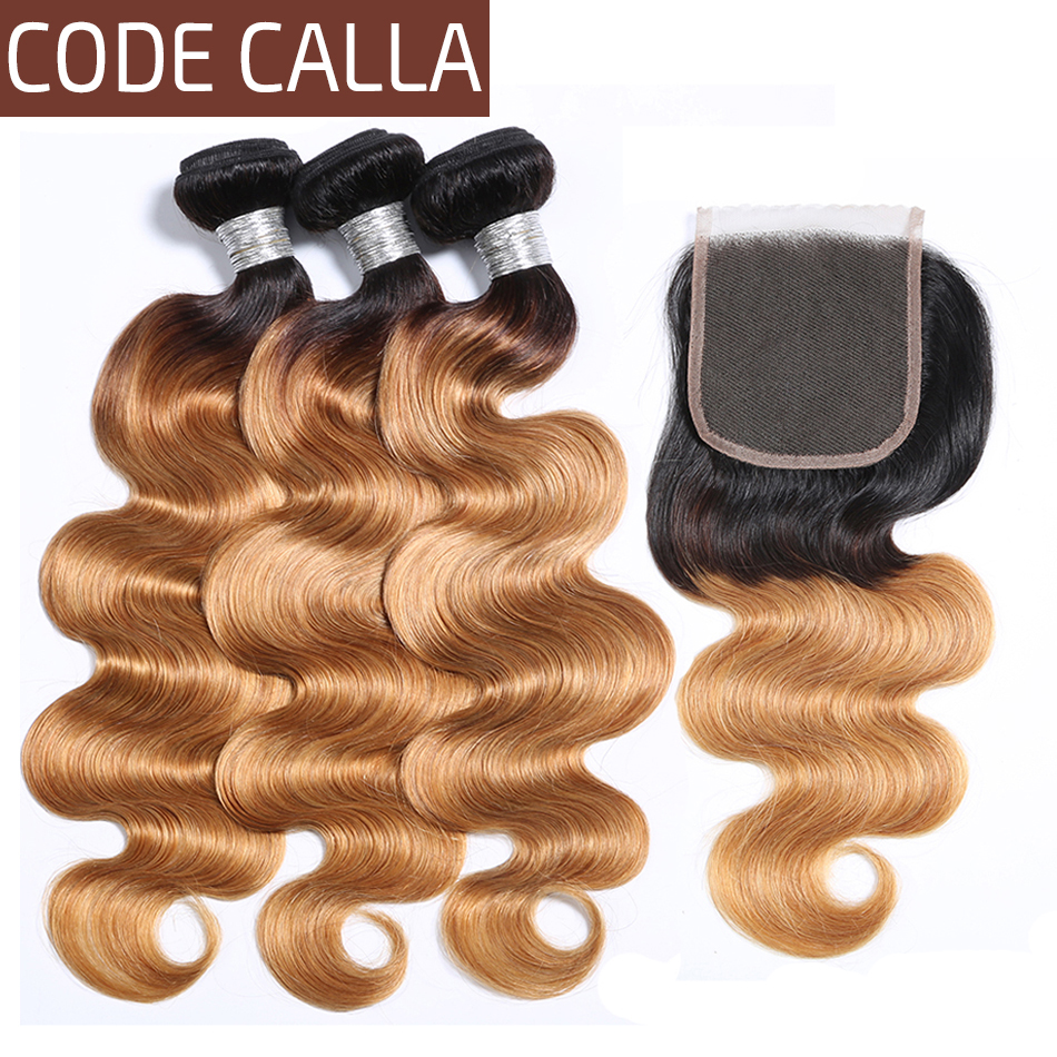 Code Calla Ombre Color Body Wave Bundles With 4*4 Lace Closure Unprocessed Brazilian Raw Virgin Human Hair Weave Weft Extension