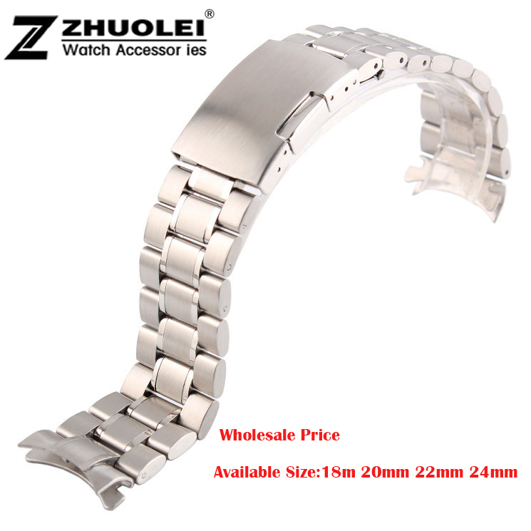 Unisex 16mm 18mm 20mm 22mm 24mm Silver Steel Watch Band Strap Bracelet Solid New Curved End Free Shipping цена