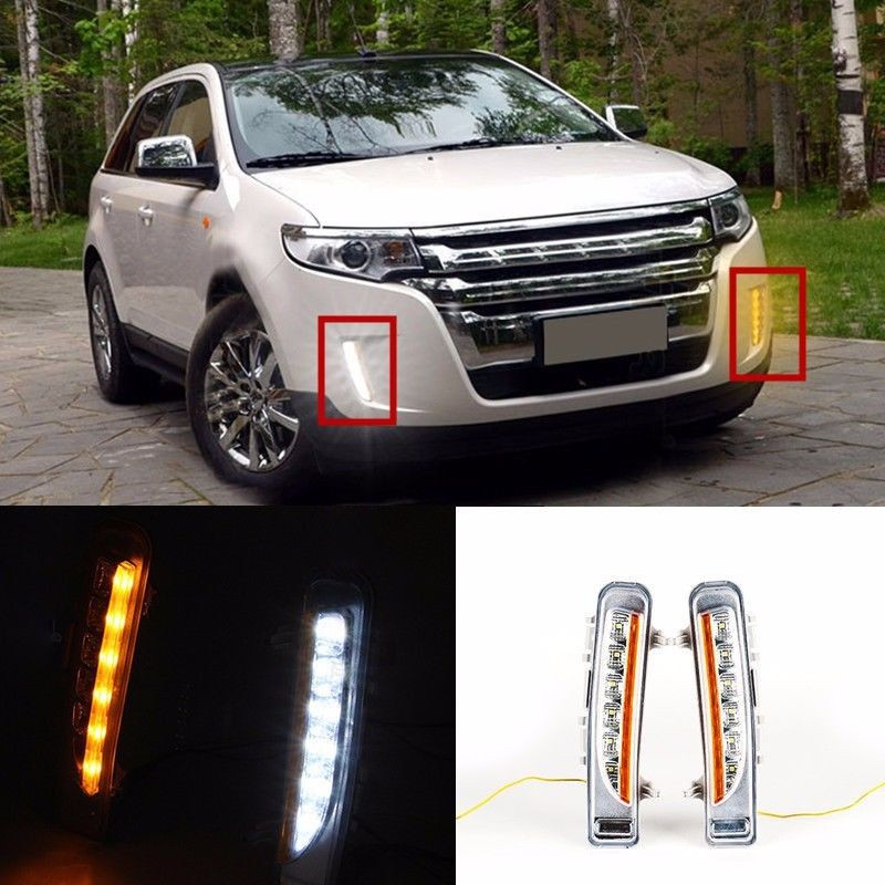 ФОТО Car White DRL LED Daytime Running Light With Yellow Turn Light For Ford Edge 2009 2010 2011 2012 2013 2014