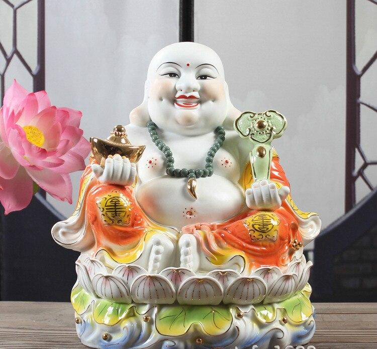 เซรามิค Maitreya พระพุทธรูปรูปปั้นนั่งอยู่บน Lotus Mammon พระเจ้า Fortune พระพุทธรูป Figurine Fengshui ตกแต่งบ้าน 24 ซม. ความกว้าง 25 ซม.-ใน รูปแกะสลักและรูปจำลอง จาก บ้านและสวน บน   1