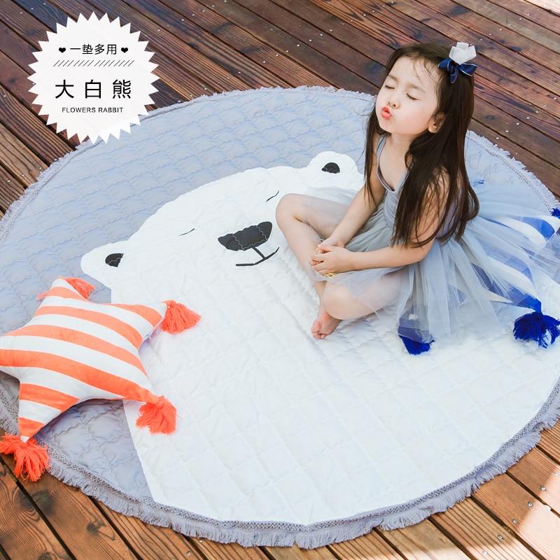 145 cm décor à la maison enfants chambre tapis rond 150*150 cm renard bébé jouer tapis Patchwork pique-nique couverture ANITSLIP tapetes para casa sala kid