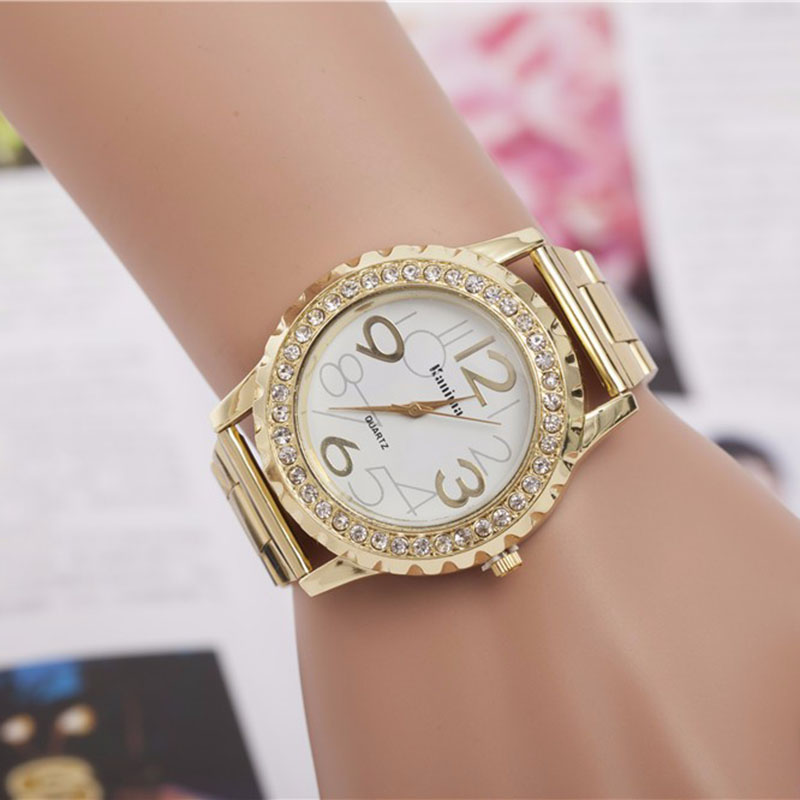 Hot Sale relojes mujer gold stainless steel belt wris