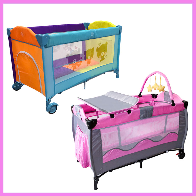 European Portable Baby Cot Crib Multifunctional Foldable Game Bed Baby Boys Girls Folding Bed Travel Portable Trolley Game Bed цена и фото