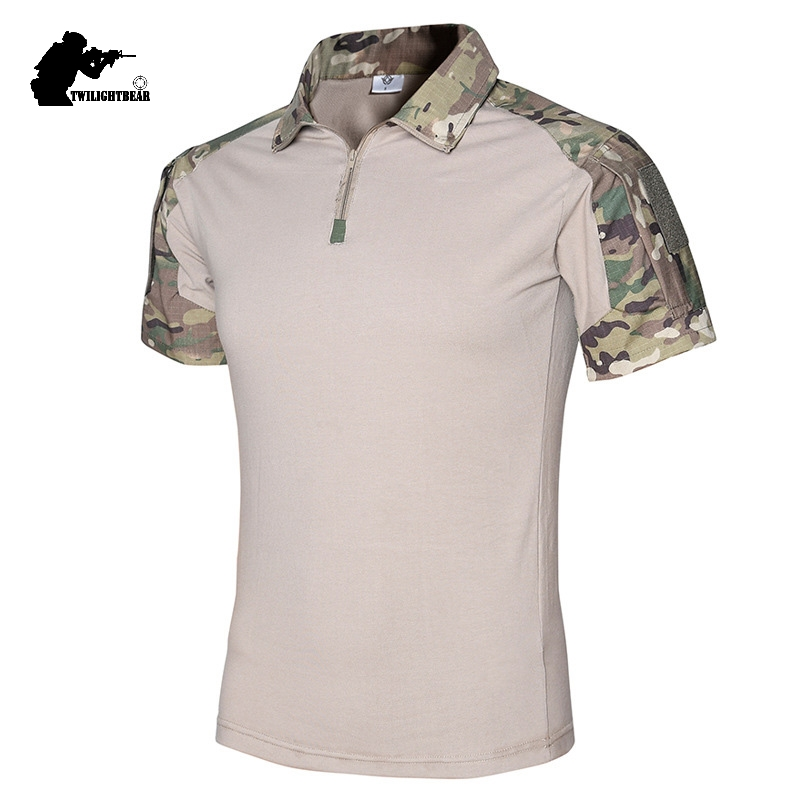 Military Mens Camouflage Frog Suit Short Sleeve Brand Cotton Fat Slim Casual Tactical T Shirt Men Training Shirts S-2XL BY416