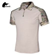 Military Mens Camouflage Frog Suit Short Sleeve Brand Cotton Fat Slim Casual Tactical T Shirt Men Training Shirts S-2XL AF416