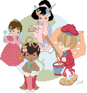 Fishxx Cross Stitch Kit H199 Cute Cartoon Characters Patterns Of The Country Song And Dance Manual Sewing Embroidery image