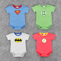 Baby <font><b>Rompers</b></font> Baby boy girls Superman outfit The flash Barry allen 4 colors Newborn baby Summer costume Batman Jumpsuits Retail