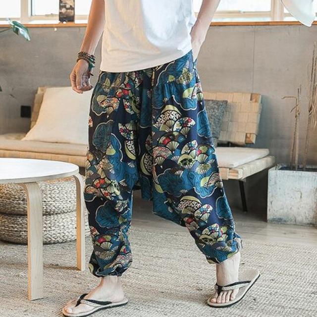 New Hip Hop Aladdin Hmong Baggy Cotton Linen Harem Pants Men Women Plus Size Wide Leg Trousers New Boho Casual Pants Cross-pants 2