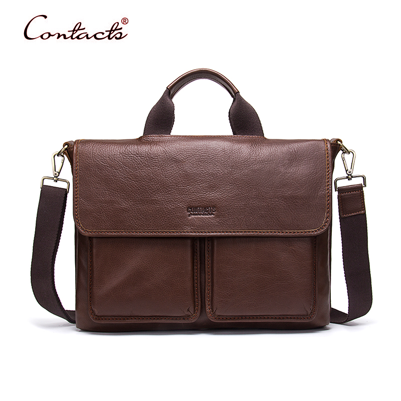 CONTACT'S Men Bag Genuine Leather Handbags Shoulder Crossbody Messenger Bags Tote Sac Male Briefcase 2017 Business Famous Brand business men briefcase handbags genuine leather men bag messenger bags shoulder crossbody bags leather laptop bag male