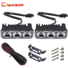 Cawanerl 2 x Super Bright 3 LED Aluminum Car Styling Fog Light Driving Daytime Running Light DRL With Lens White 12V Waterproof(China)