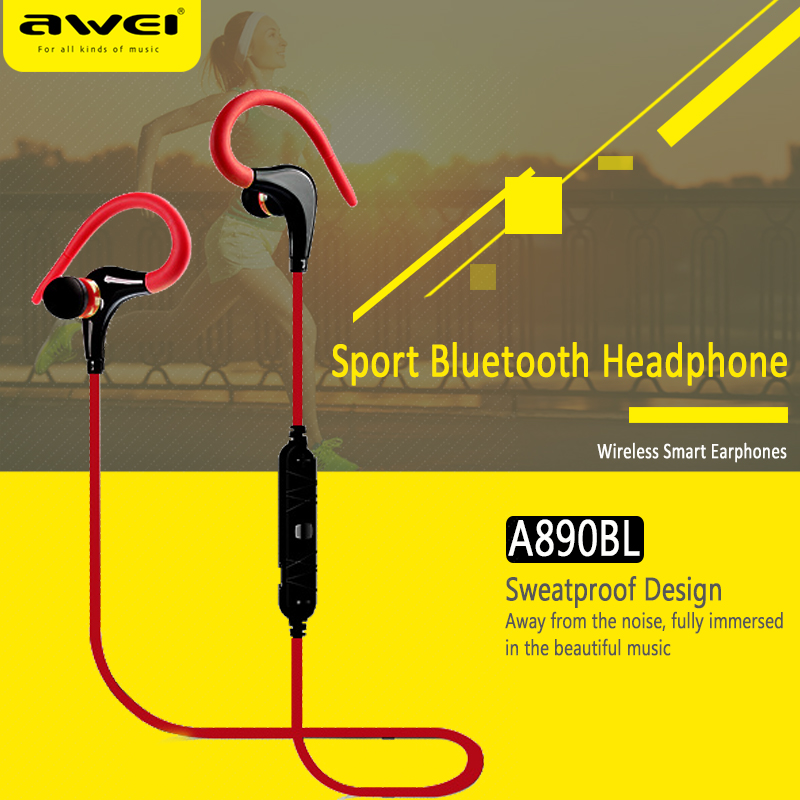 Awei A890BL Hifi Stereo Sport Auriculares Bluetooth Headset Earphone Ear Phone Bud Cordless Wireless Headphone Earbud Earpiece ecko unltd stomp ear bud stereo white mini phone wired earbud binaural open 3 94 ft cable eku stp wht