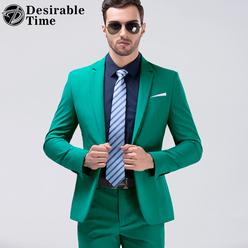 Desirable Time Green Party Slim Fit White Wedding Suit Men