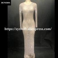 BU269 Women Sexy Bling Long Skirt Net Yarn Full Of 2000PCS Glass Sparkling Crystals Nightclub Birthday Party Singer Stage Wear