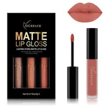 Schönheit Flüssigkeit Lippenstifte Make-Up Pigmente Sexy Rot Lila Samt Matte Lip Gloss Make-Up Kit 3 Farben/Set(China)
