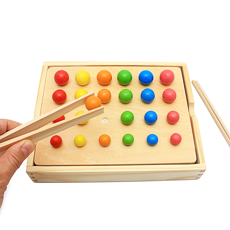Bebé Montessori vida diaria Bola de recorte bolas coloridas formas colores mano-ojo coordinación juguete educativo temprano para niños
