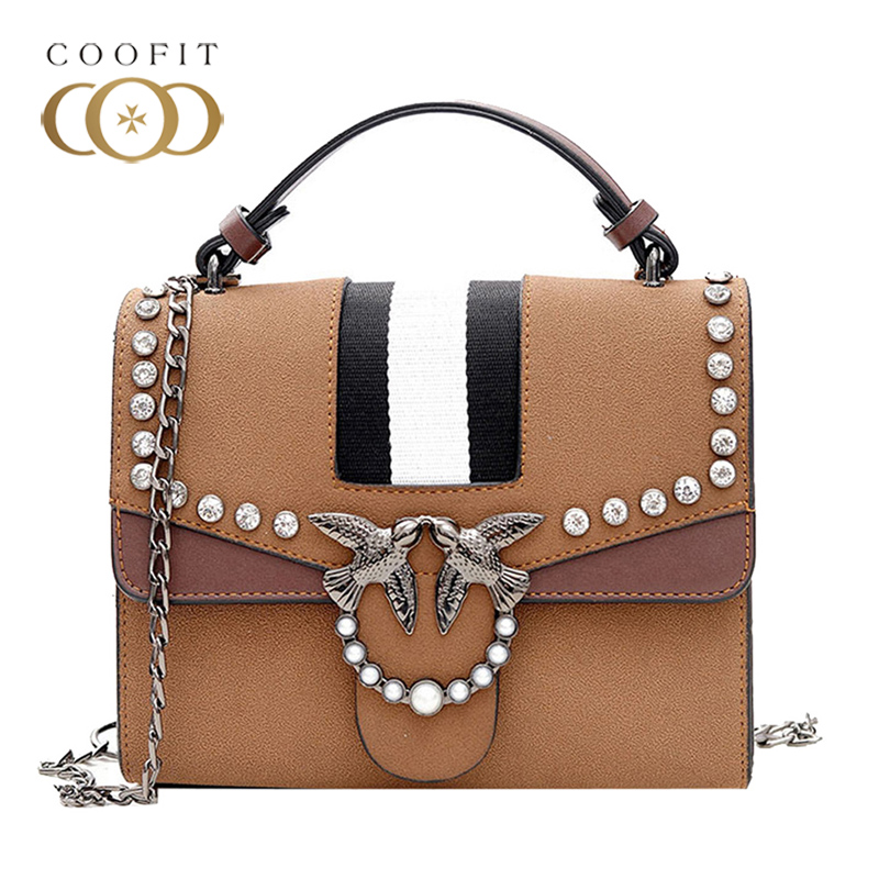 Elegant Women Handbag Top Handle Fashion Rivet PU Leather Embossed 3D Birds Buckle Crossbody Bag Female Messenger Shoulder Bag women bag set top handle big capacity female tassel handbag fashion shoulder bag purse ladies pu leather crossbody bag