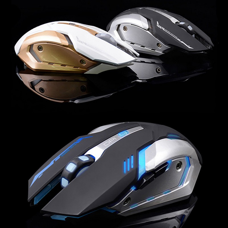 Wireless Silent Rechargeable 2400 DPI PC USB Optical Ergonomic Gaming Mouse