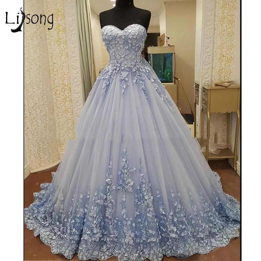 Romantic 3D Flower Puffy Evening Dresses 2018 Pretty Lace Appliques Prom  Gowns Sweetheart Plus Size Formal Dress Robe De Soiree
