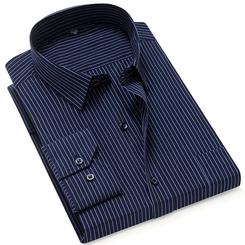 MACROSEA New Men's Shirts Long Sleeve Striped Casual Dress Shirt Turn-down Collor Retro Style Shirts Plus Size S-8XL HW