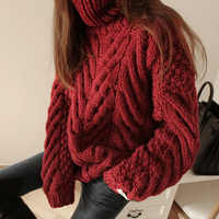 2018 Winter Chic Style Turtleneck Thick Sweaters Women Loose Casual Knitted Pullovers Female Chic Loose Thick Sweaters Tops