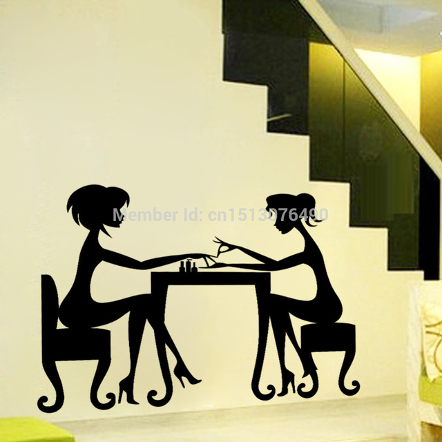 sex girls lady Hair Salon Nail art wall stickers glass decals for ...
