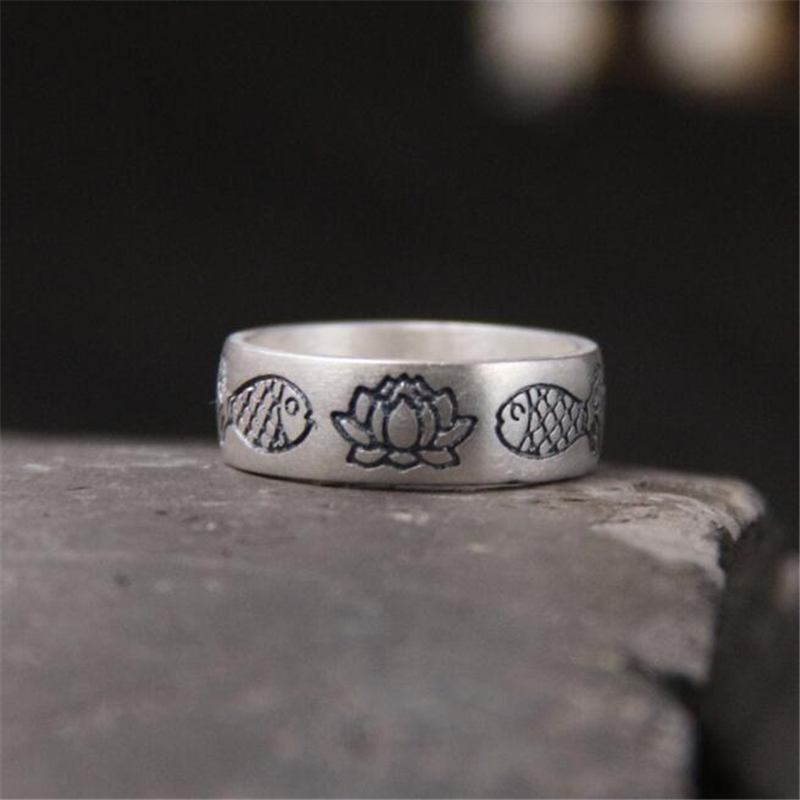Truly 999 Sterling-Silver-Jewelry Fish Lotus Ring For Men Women With 6MM Punk Luxury Gift Unisex Female Male Accessory