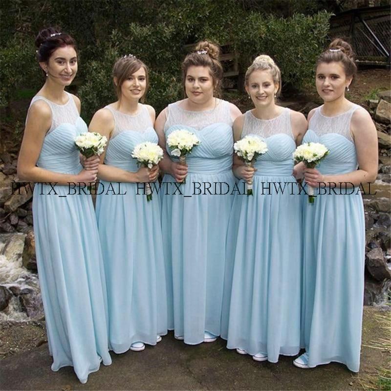 Sky Blue Chiffon   Bridesmaid     Dresses   2019 Cheap A-Line Sleeveless Long Wedding Party   Dress   Vestido madrinha Women Formal Gown