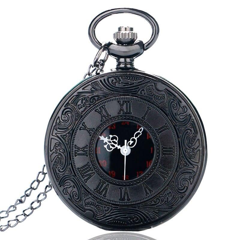 Vintage Charm Black Unisex Fashion Roman Number Quartz Steampunk Pocket Watch Women Man Necklace Pendant With Chain Xmas Gifts