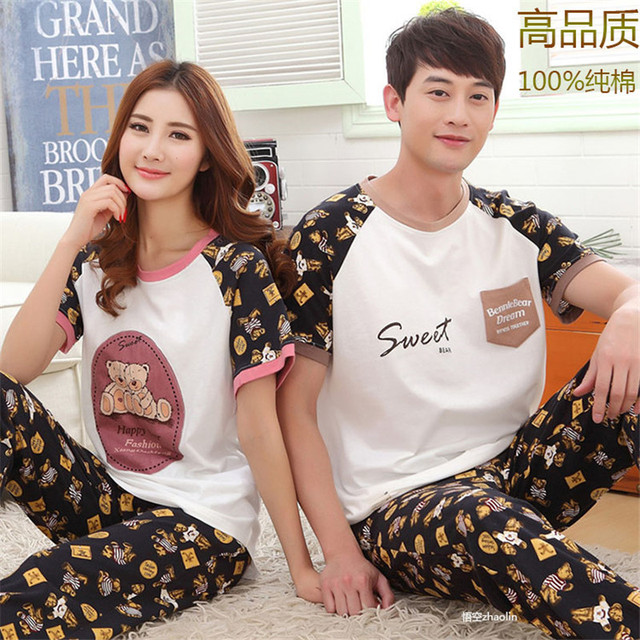 aa02c8b67c New Couple Pajamas Women Short Sleeve Trousers Cotton Pyjamas Love Sleep  Lounge Pajama Sets