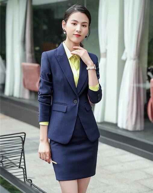Alta calidad moda mujer trajes de negocios con conjuntos de falda y chaqueta  Oficina damas Blazer e69e144a3983