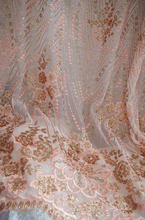 1 yard peach pink sequined lace fabric sequins lace fabric for bridal dress, wedding gown Lace accessories fabric