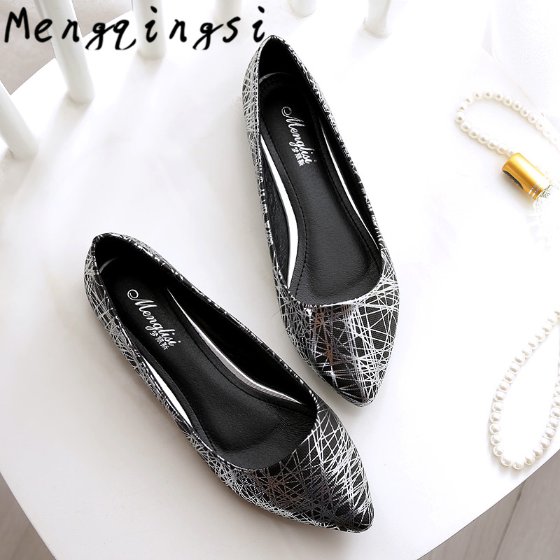 Mengqingsi Women casual flat heel shoes 2017 New Hot big size 33-45 Fashion pointed Toe comfortable leather Women's shoes flats black red 2015 full grain leather women s summer comfortable shoes pointed toe rhinestone fashion flat heel shoes for women